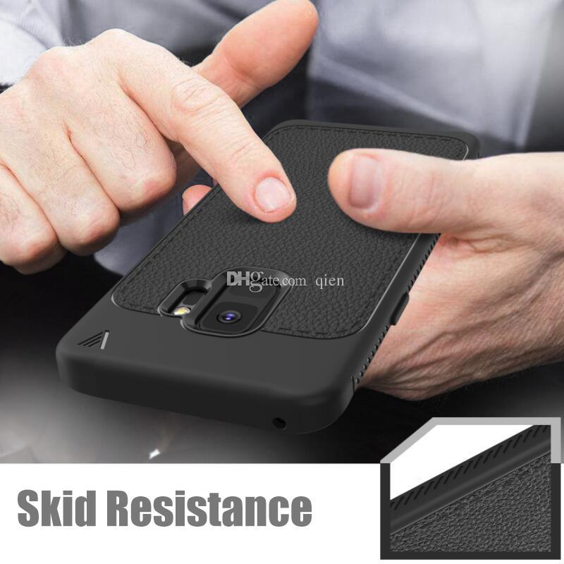 Pour Galaxy Samsung S9 Plus Case Motif Litchi TPU Souple Robuste De Protection Arrière Couverture Cas de Téléphone Pour iPhone