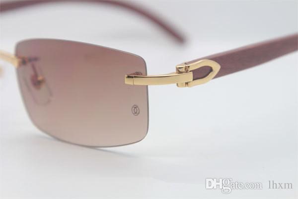 Atacado-2018 Venda Quente 3524012 Boa Madeira Feita Retro Vintage Mulheres Óculos De Sol Sem Aro Verde Lens Tamanho 56-18-135mm