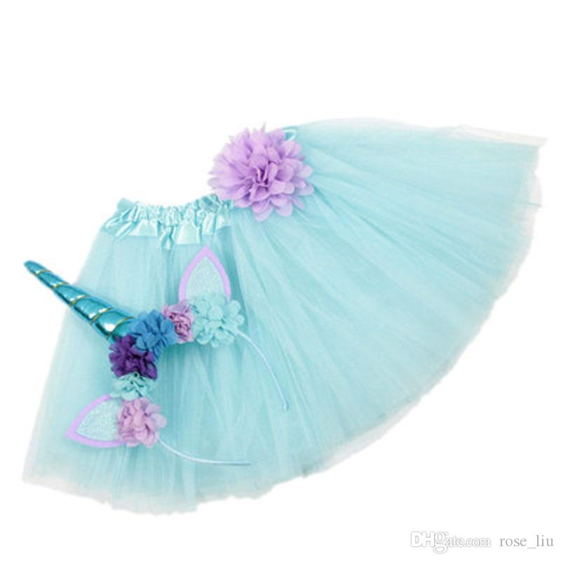 Girls INS Unicorn TUTU skirt +hair accessory sets 2018 New summer lace Bow flower decoration short skirt kids dress 1~6years B