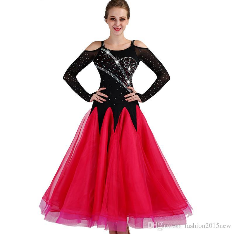 458237817 2019 Standard Ballroom Dance Dress 2018 New Competition Dresses Big Swing  Rhinestone Costumes For Women Tango/Waltz Modern Dancing Dress F308 From ...