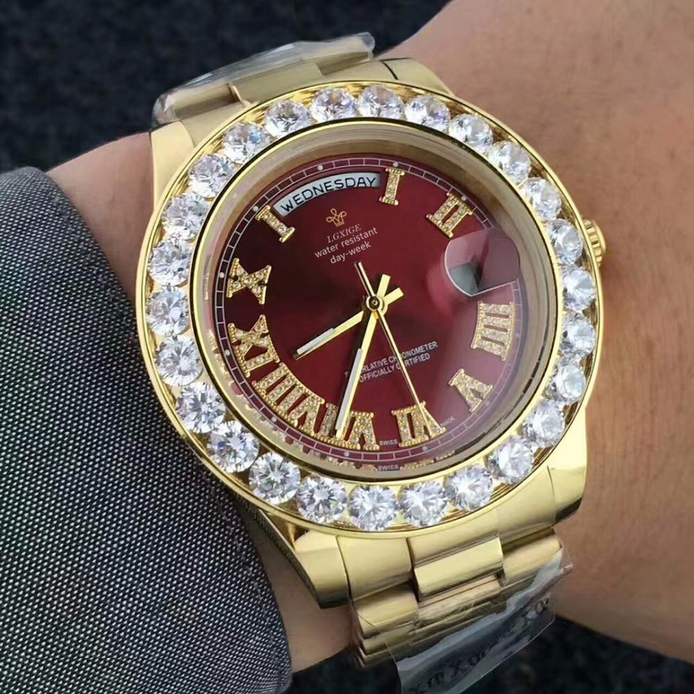 ad42141b730 Compre Big Diamante Marca De Luxo Relógio De Ouro Dos Homens De Aço  Inoxidável Dia Data Das Mulheres Relógio De Pulso Do Presidente Top Masculino  Relógio ...
