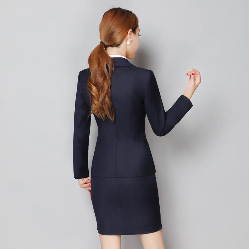 Women Single-Button Suit Jacket Spring Autumn Slim Women Suits Solid Black Blue Female Jacket Plus Size Female blazer BY592