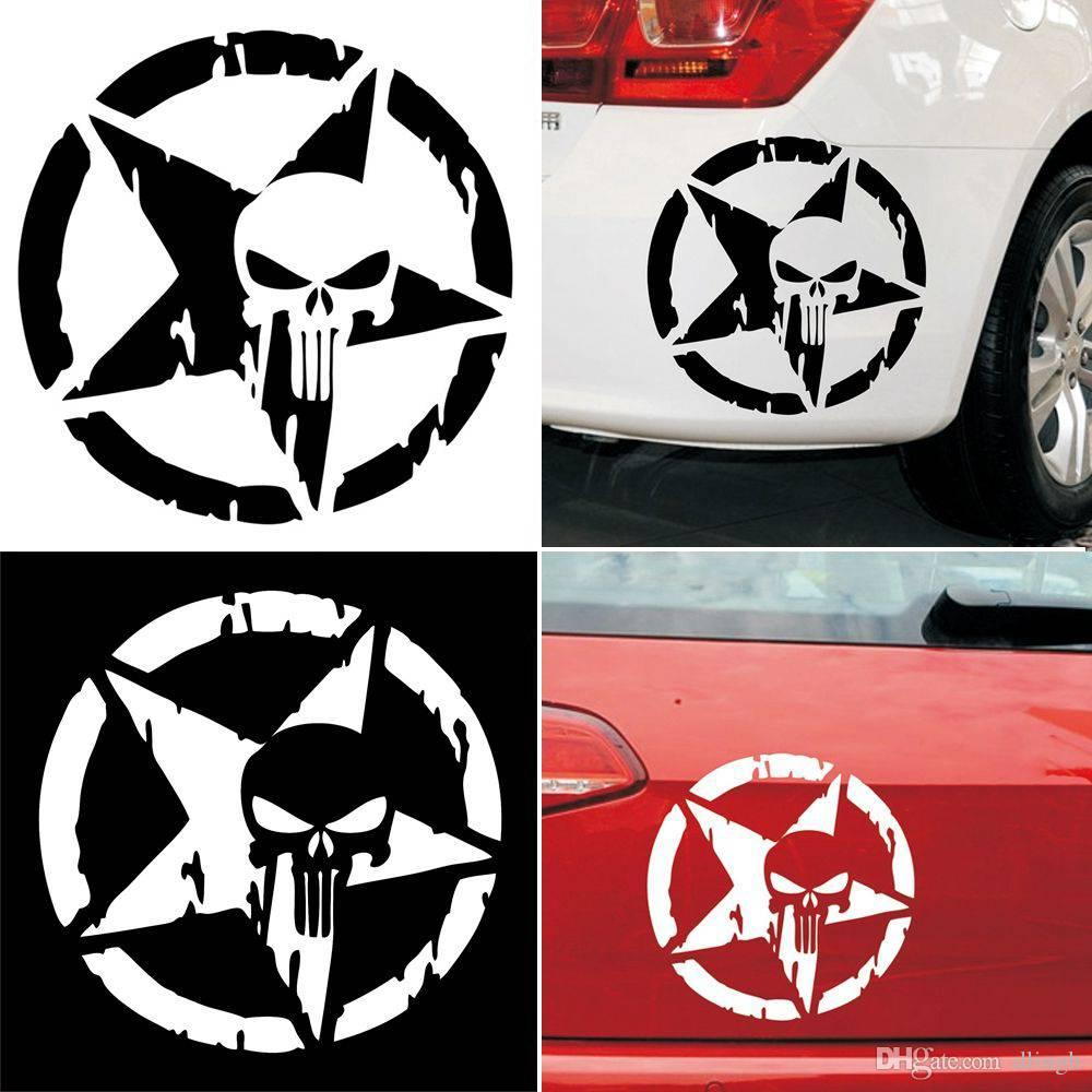 2018 13x13cm the punisher skull auto car sticker pentagram vinyl decals motorcycle truck window car sticker from dlingh 2 02 dhgate com