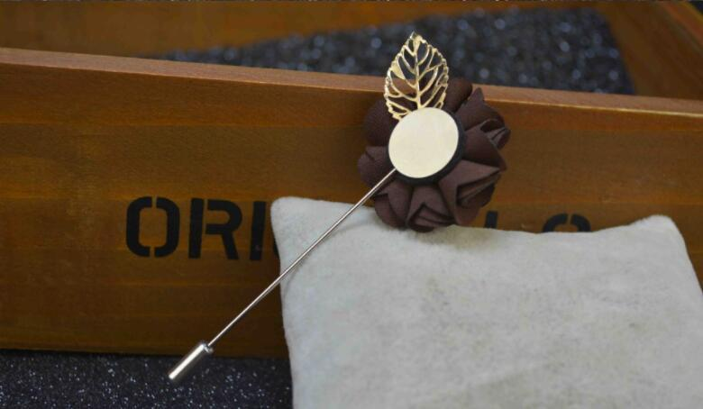 Flower Lapel Pin Men Suit Brooches Fabric Yarn Pin Button Stick Flower Brooch For Wedding