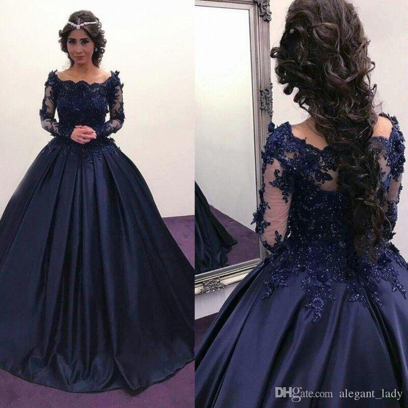 a14a609fe681f 2018 Navy Blue Long Sleeve Puffy Prom Dresses Bateau Lace Satin Masquerade Ball  Gown African Evening Formal Dress Vestidos Plus Size Le Femme Prom Dresses  ...