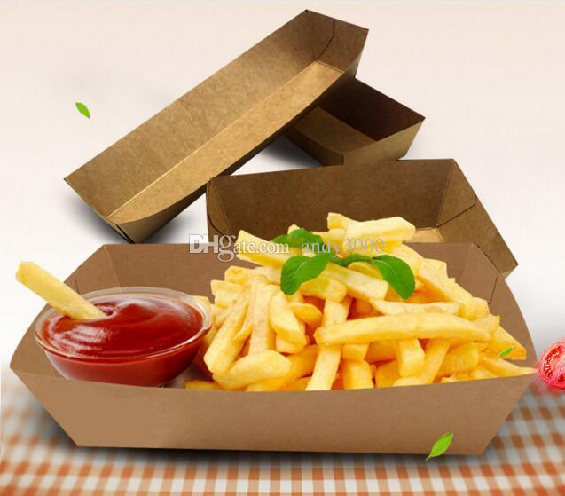Cardboard Food Tray Hot Dog French Fries Plates Dishes Food Packaging Box Disposable Dinnerware Tableware