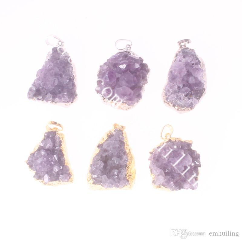Natural Amethyst Druzy Cluster Pendant Gold Dipped Amethyst Druze Silver Plated Purple Amethyst Geode Raw Freeform Gemstone Point Pendant