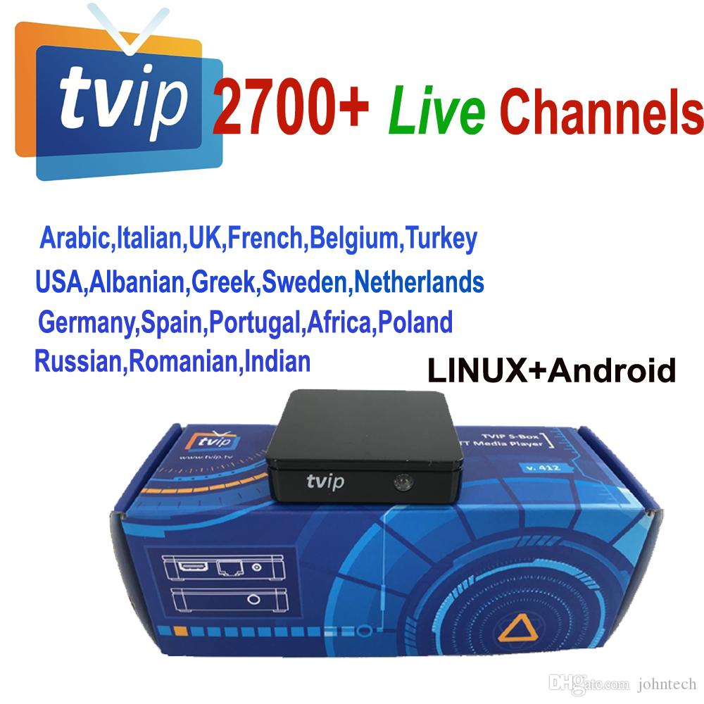 2700 live streaming channels for Original TVIP 412/410 tvip410 tvip412  Linux Android Set Top Box linux OS Stalker youtube arabic Italian XXX