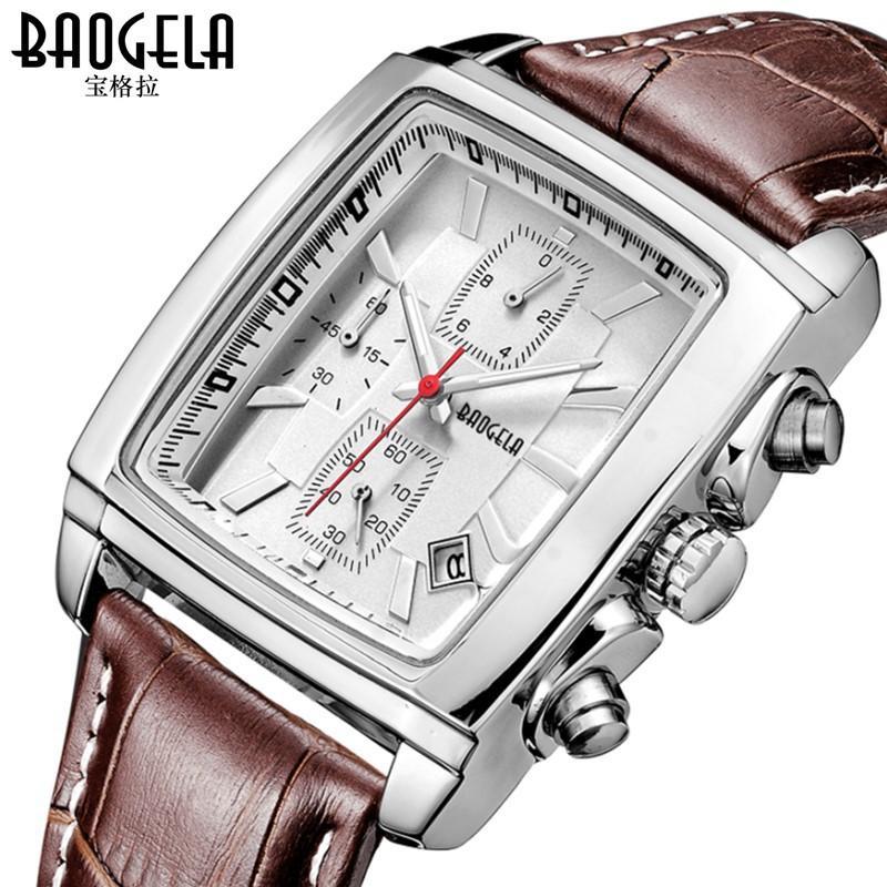 Compre Mens Relógios Top Marca De Luxo De Quartzo Relógios Quadrados  Vestido De Couro Relógio De Pulso Cronógrafo Cronômetro À Prova D  Água  Relógio Do ... 494a03f14e