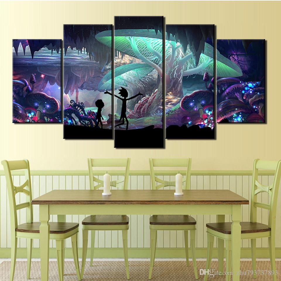 Wall HD Art 5 Pieces/Pcs Rick And Morty Print Poster Canvas Painting Framework Modular Pictures For Living Kids Room Decorative