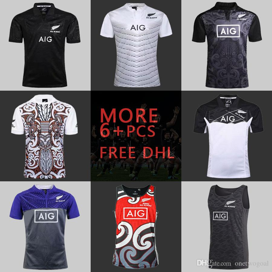 promo code d025d 664ea Free DHL 6+ PCS 2018 ALL BLACKS Rugby Jerseys New Zealand Maori Shirt All  Blacks Mens Rugby Singlet World Cup Rugby League S-XXXL