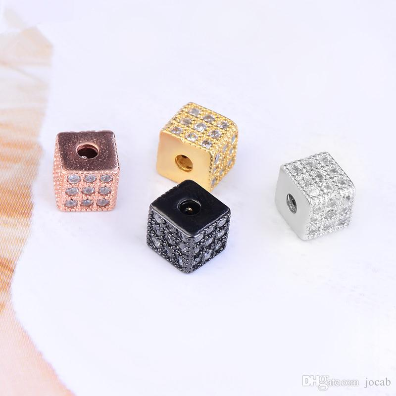 Wholesale Handmade Jewelry DIY Findings Beads Micro Pave CZ Rhinestone Square-shape Spacer Ball Beads Bracelets Beaded Accessories Connector
