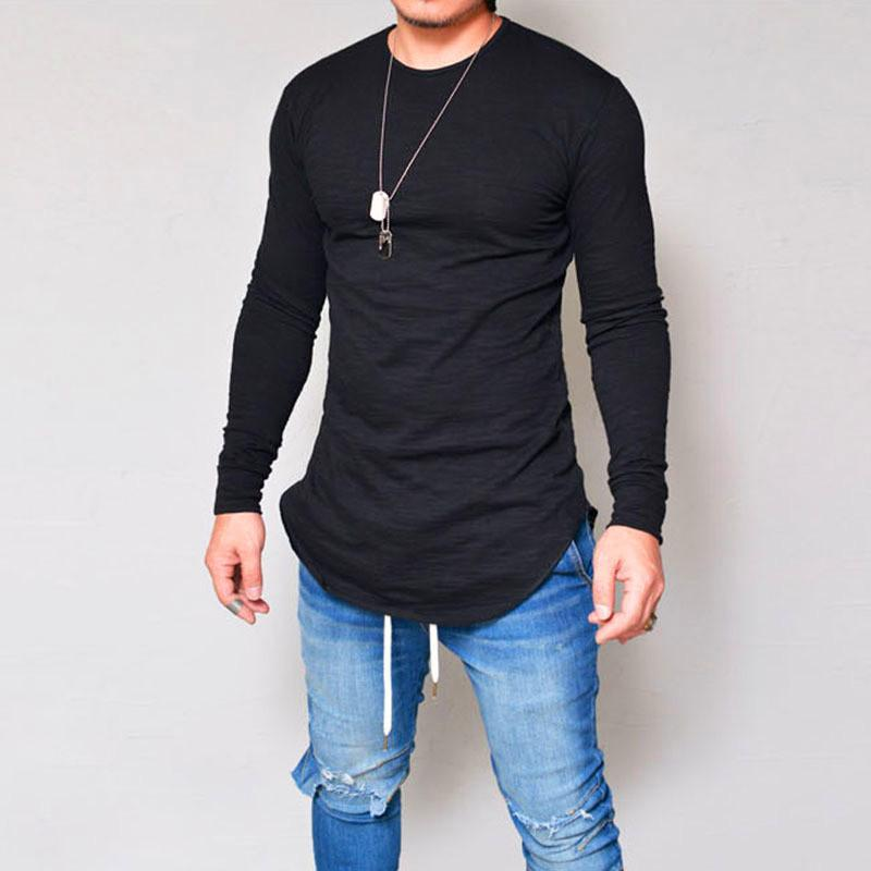 6e7b779568df 2018 New Fashion Designer Shirt Crew Neck T Shirts Men Long Sleeve White  Casual Mens Clothing Luxury T Shirt Polo Clothes S XXL Tee Shirt Deals  Online ...