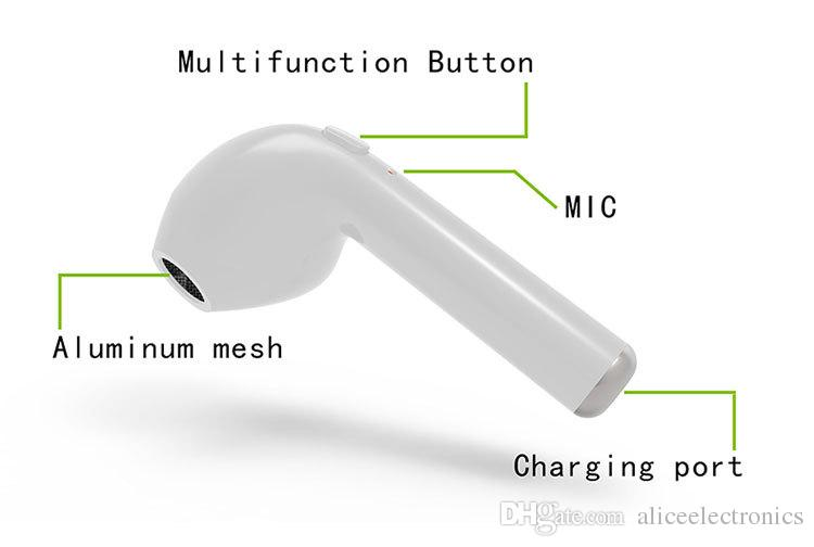 i7 Single Wireless Bluetooth Kopfhörer Stereo Musik Kopfhörer Set Ohrhörer Kleinpaket In-Ear Musik Ohrhörer Set Wireless Kopfhörer Mini