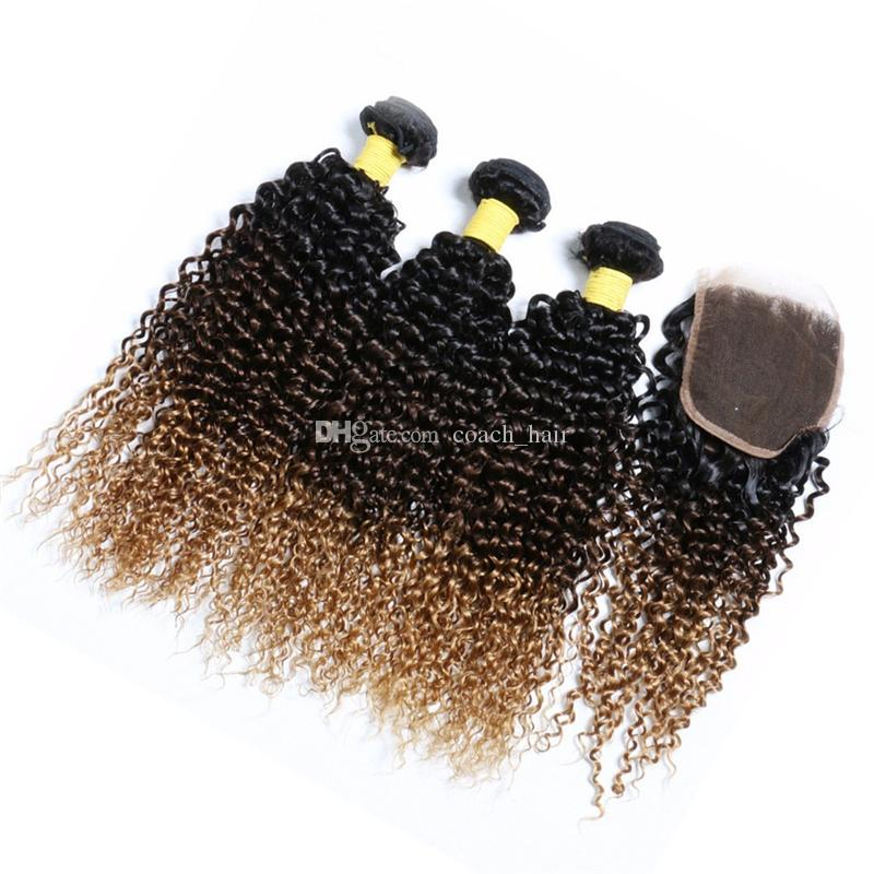 3 Tone Ombre Brown Blonde Hair Bundles and Closure 1B 4 27 Honey Blonde Ombre Kinky Curly Human Hair Weaves with Lace Closure