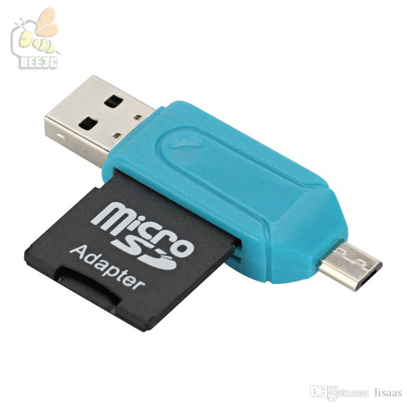 two in one 2 In 1 Card Reader with SD Micro SD TF Slots OTG Adapter Micro USB 2.0 for Android Cell Phone Tablet Computer