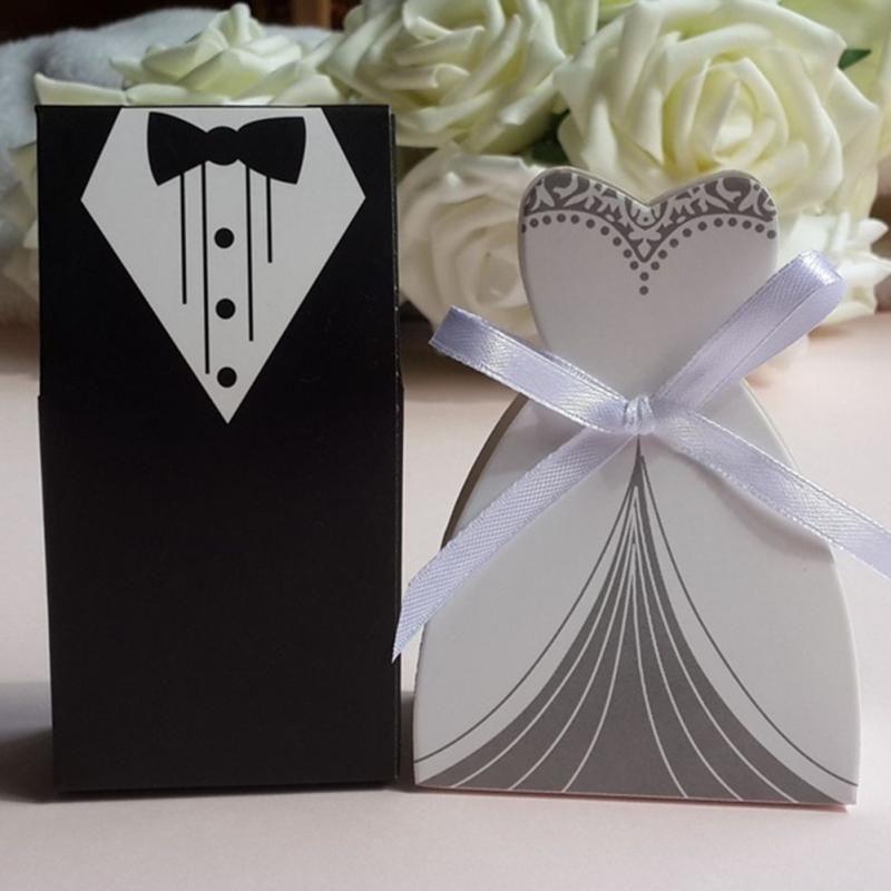 Wedding Gifts Case Bridegroom Tuxedo Dress Gown With Ribbon Wedding