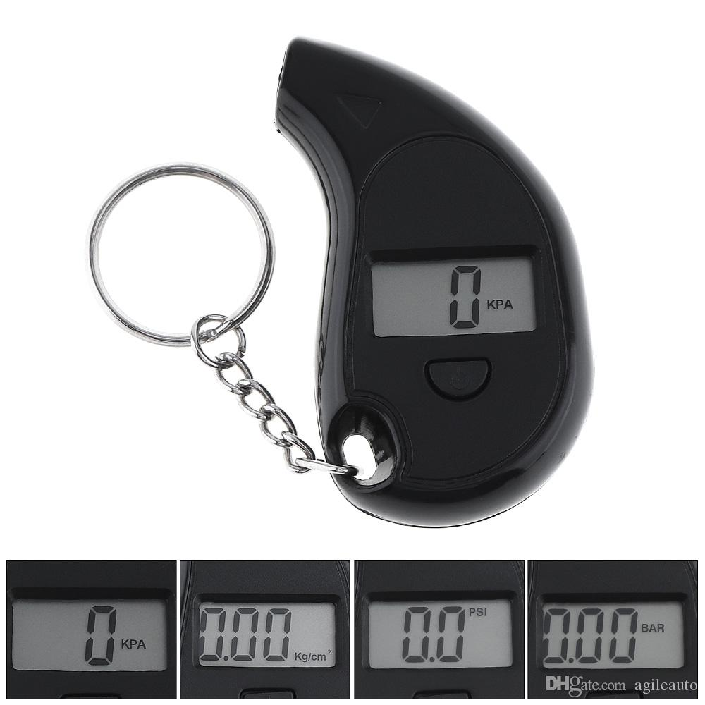 Mini Portable LCD Display ABS Precision Electronic Digital Tire Pressure Gauge Meter with Key Chain for Car Tire CEC_70Y