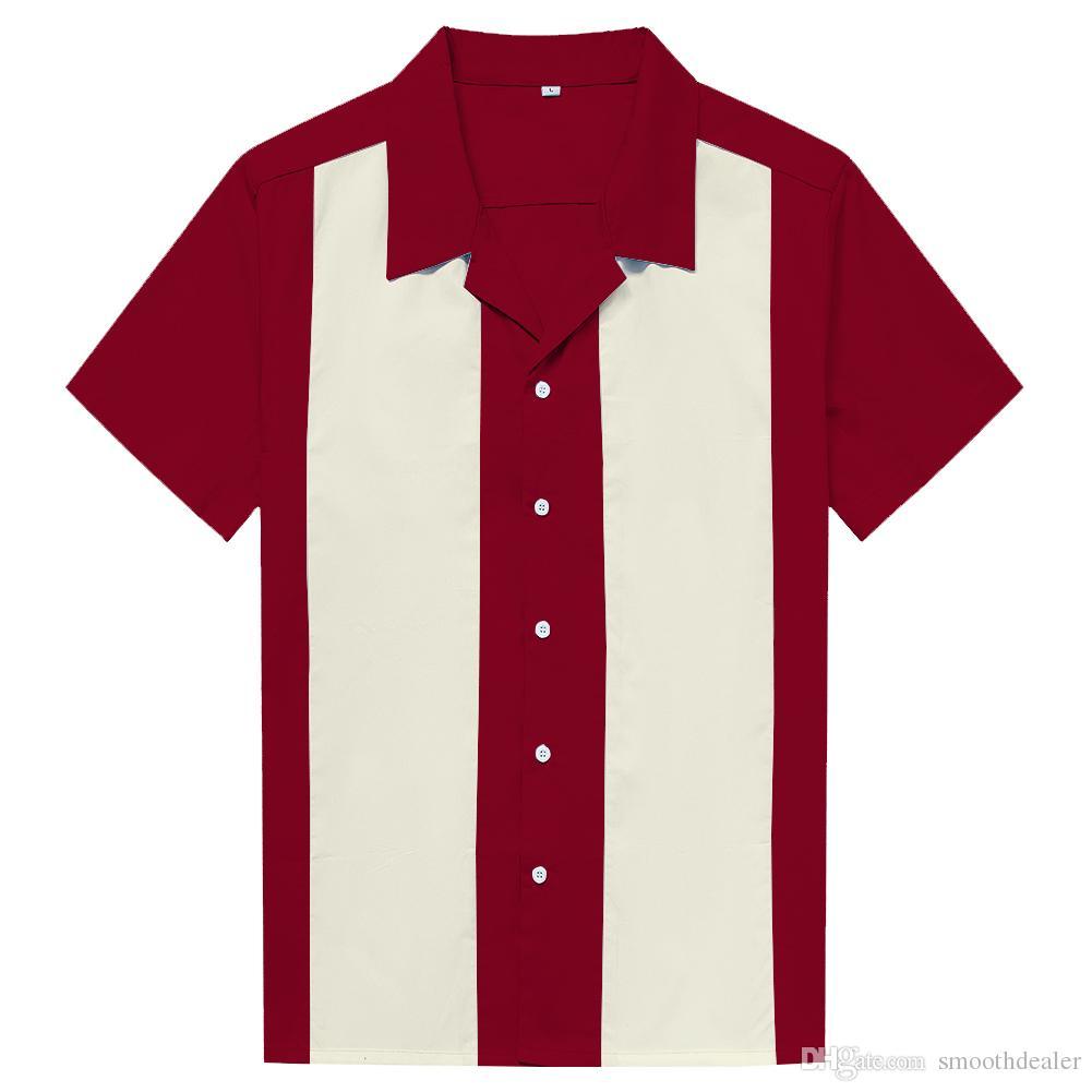 separation shoes 24304 32809 Herrenhemden in Übergrößen Kleidung Rockabilly Retro Bowling Shirts  Kontrastfarbe Maroon