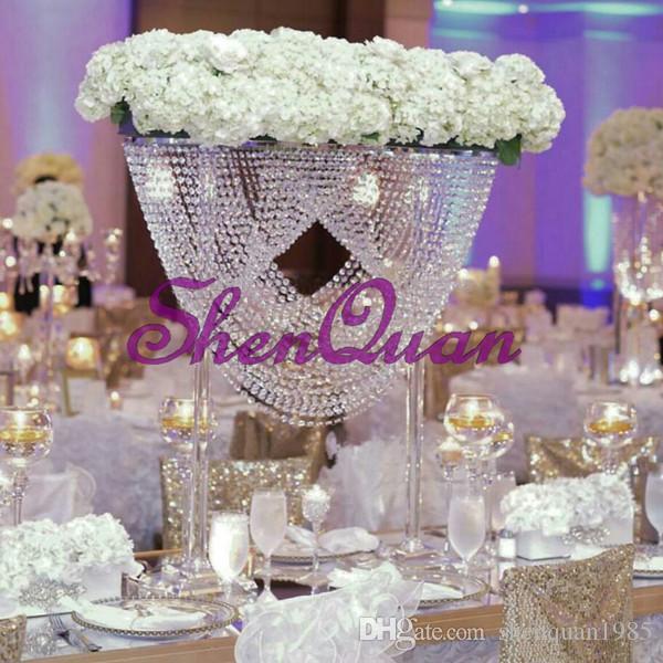 جودة عالية ، منفذ المصنع أنيقة ومشرقة موقف زهرة الكريستال المركزية شنقا الكريستال لجدول الزفاف من الشركة المصنعة