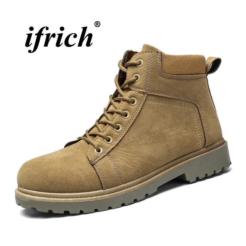 dd2789136cd Discount Work Boots For Men Black Khaki Army Boots Low Top Men Martins  Non-Slip Combat Cheap Trekking Shoes