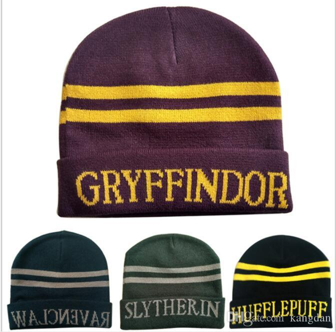 42e07d41674 2019 Fashion Harry Potter Gryffindor Wool Knit Beanie Hat Cap Slytherin  Ravenclaw Hufflepuff Emblem School Hats Cosplay Costume Hat From Kangdan