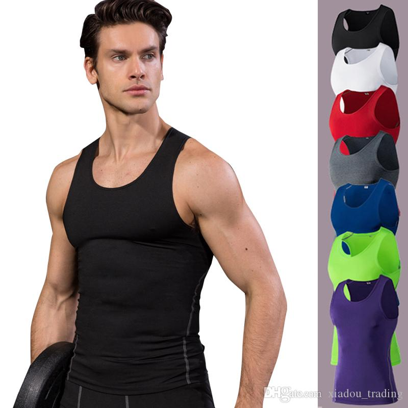 26af344493a40 2019 Quick Dry Running Vest Training Sleeveless Workout Tank Top Fitness  Tights Men Sport Suit Gym Men S T Shirt From Xiadou trading