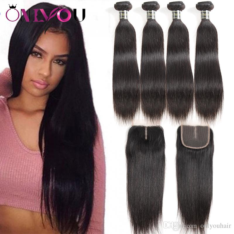 Brazilian Peruvian Malaysian Indian Straight Virgin Human Hair Weaves With Closure Unprocessed Brazilian Remy Hair Bundles And Lace Closures