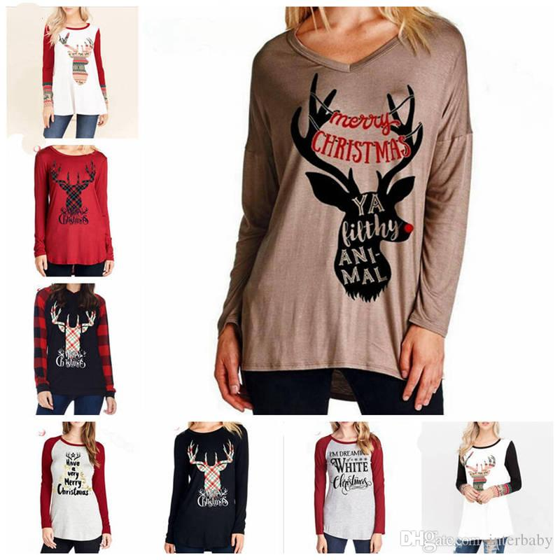 Christmas Tops For Women.Christmas T Shirts Women Deer Xmas Tops Elk Shirts Letter Panelled Tees Casual Long Sleeve Blouse Designer Home Clothing 37 Colors Yl544