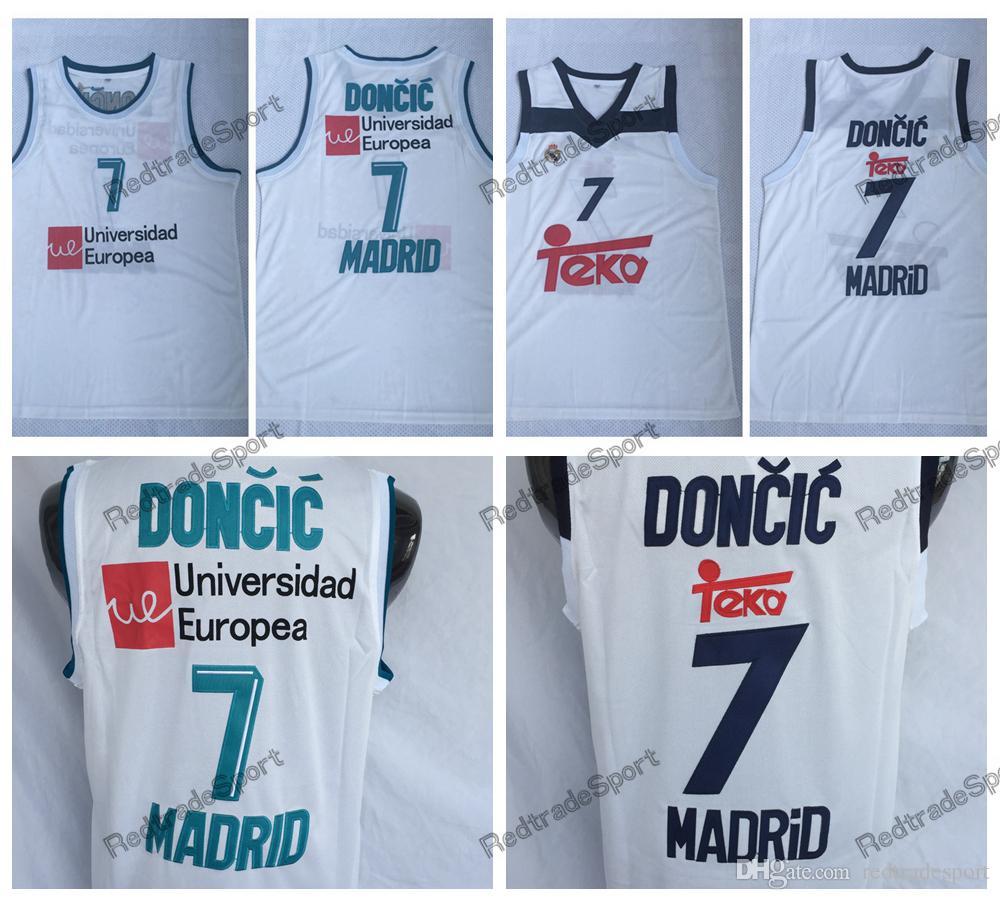 266444f22878 Compre Hombres Luka Doncic Unicersidad Europea   7 Camiseta De Baloncesto  De Madrid Baratas 7 Luka Doncic Camisas Blancas A  16.98 Del Redtradesport  ...