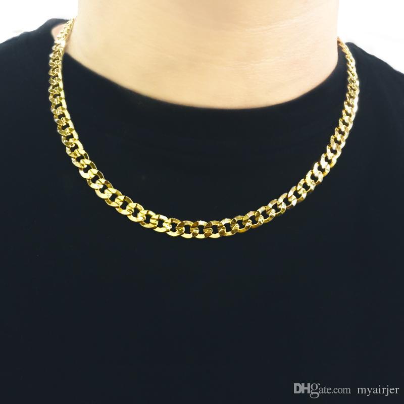 5b7f5859940d Compre Cadenas De Oro Para Hombre 24 K Chapado En Oro Hombres Collar  Hombres Collar 55 Cm Hombres Joyería Encanto Fábrica Al Por Mayor A  6.62  Del Myairjer ...