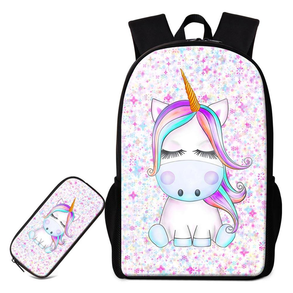 Set Bags For Primary Student Cute Unicorn Printing Backpack With Pencil  Case Children Fashion Animal Bagpack Pen Box Kids Schoolbags Side Bags Kids  Backpack ... a962840fee46e