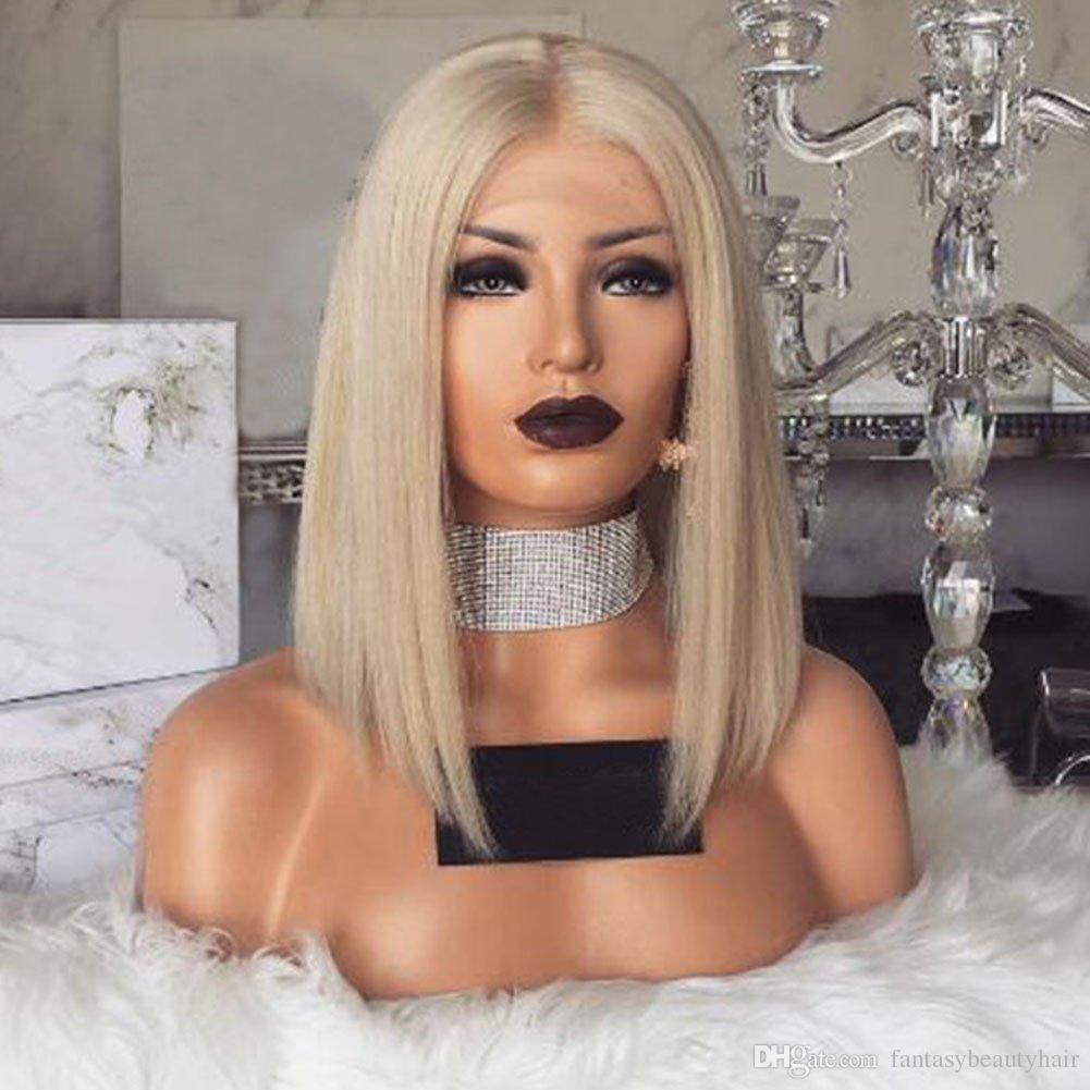 Glueless Spitzefrontseiten-blonde Menschenhaar-Bob-Perücken mit dem Baby-Haar vor gerupft 60 Blonde kurze brasilianische volle Spitzeperücke-Jungfrau-Haar