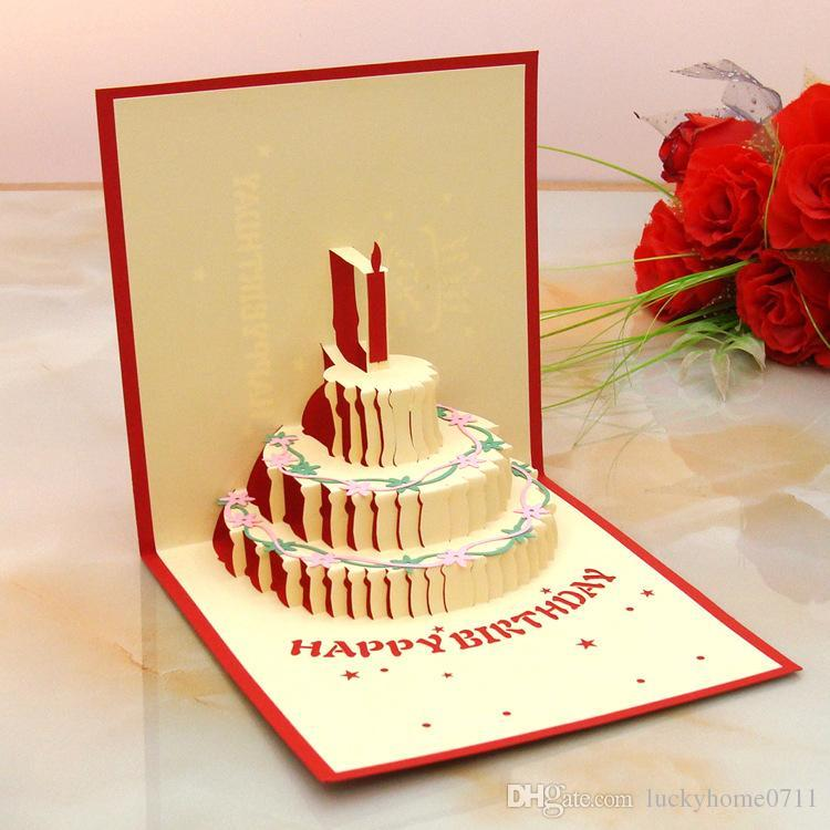 3d Paper Carving Creative Birthday Cake Birthday Party Gift Blessing