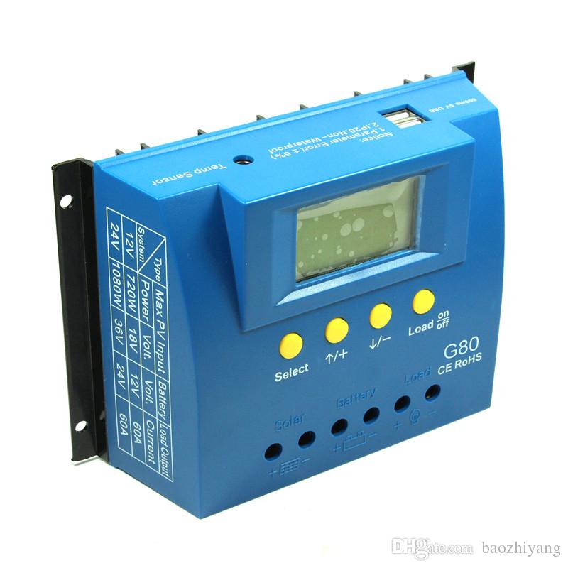 G80-12V24V80A solar charging controller Backlight display LCD Solar energy controller with heat dissipation