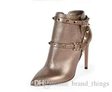 women fashion ankle boots spike stud gladiator booties women motorcycle boots buckle shoes thin heel bota suede leather dress shoes