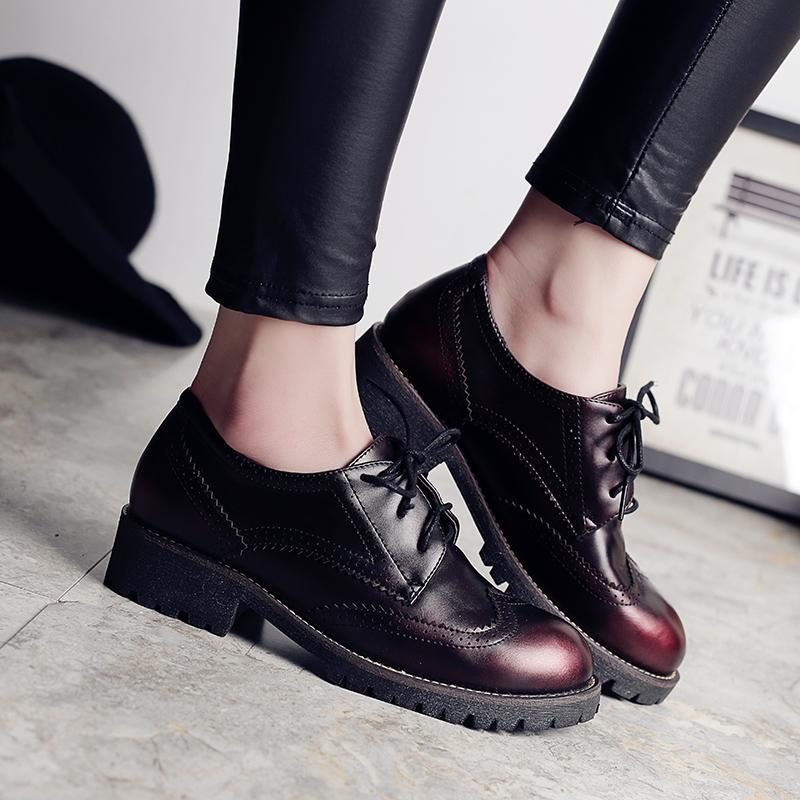 b289ee95a6444 Teahoo Retro Shoes Woman Spring Autumn Oxford Shoes for Women Brogues Soft  Handmade Leather Lace Up Women Oxfords Creepers Women Oxford Shoes Oxford  Shoes ...