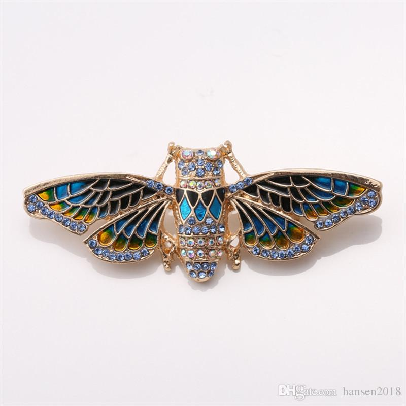 Pins & Brooches Vintage Butterfly Brooch Pin Rhinestones Crystal Antique Corsages Scarf Clips Jewelry & Watches