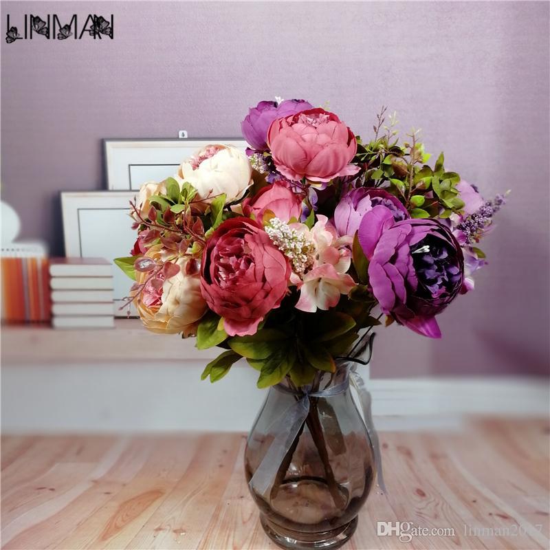 2018 Lin Man Wedding Flowers Bridal Bouquet Peony Bouquet Wedding ...