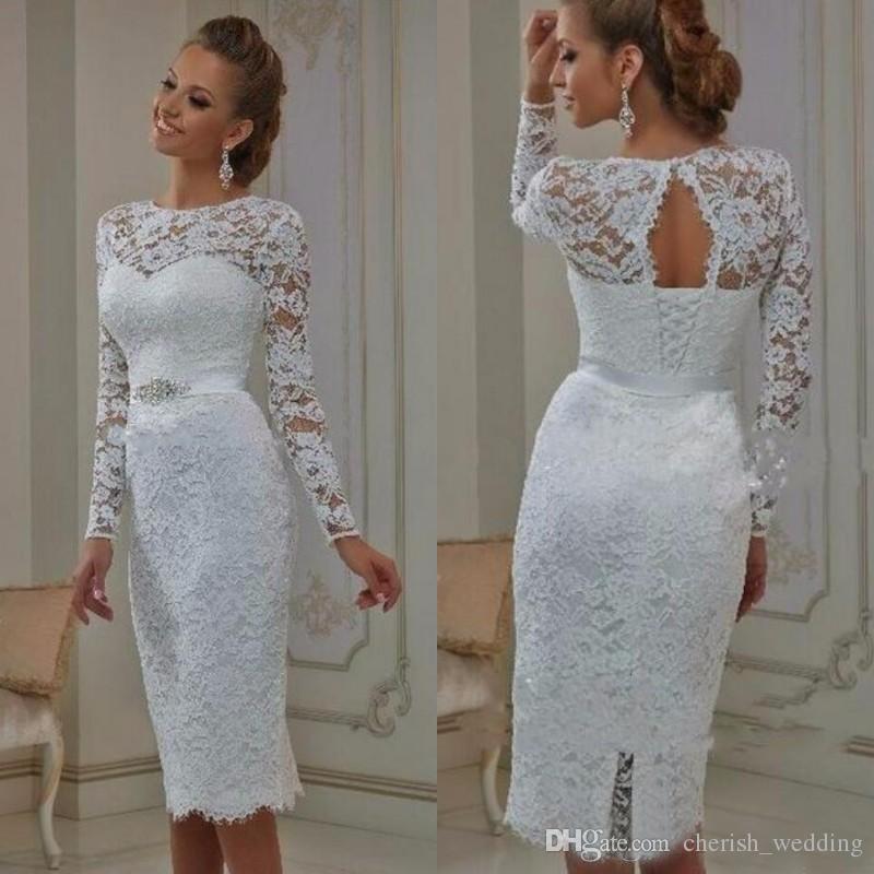 compre vestidos de novia de encaje blanco con mangas largas longitud