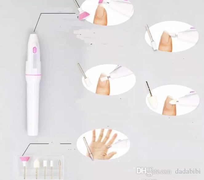 NUEVA Forma de pluma Mini Nail Art Tips de manicura eléctricos Herramientas Cuidado de uñas Uña Máquina con 5 Precisión Crafted Nail Heads envío gratis