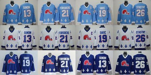Quebec Nordiques 26 Peter Stastny 19 Joe Sakic 13 Mats Sundin 21 Peter  Forsberg Blue White Hockey Jerseys Stitched UK 2019 From Lejerseys f6a73b1f3