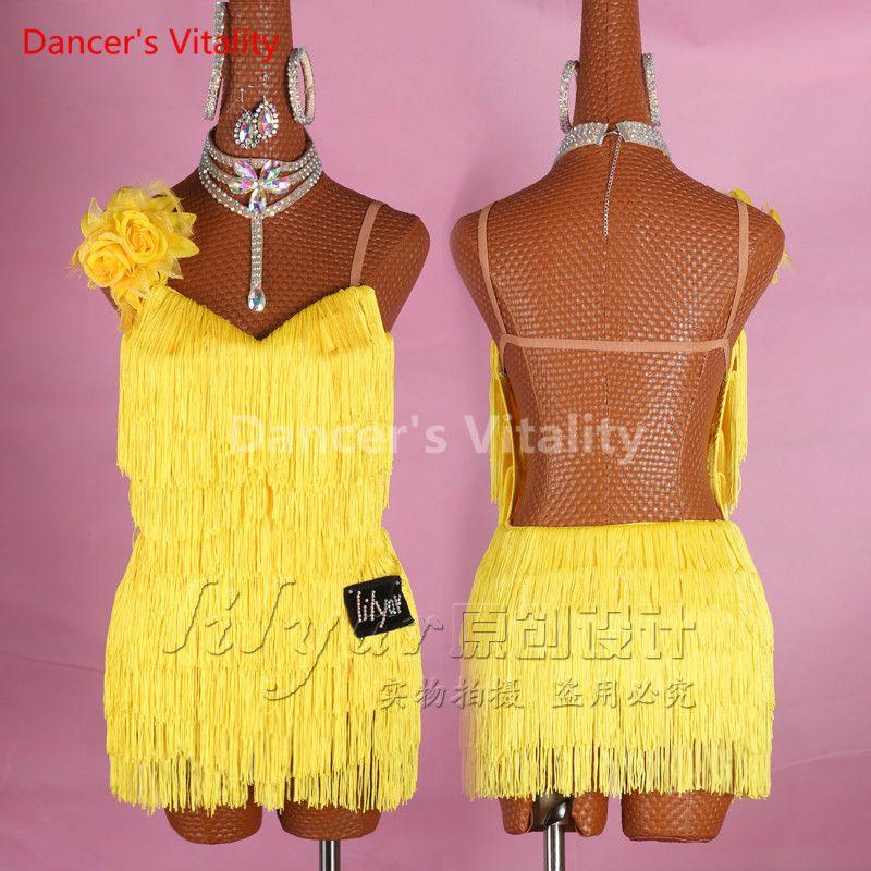 Latin Dance Dress Performance Competition Tassel Shoulder-straps ... 0c994384297f