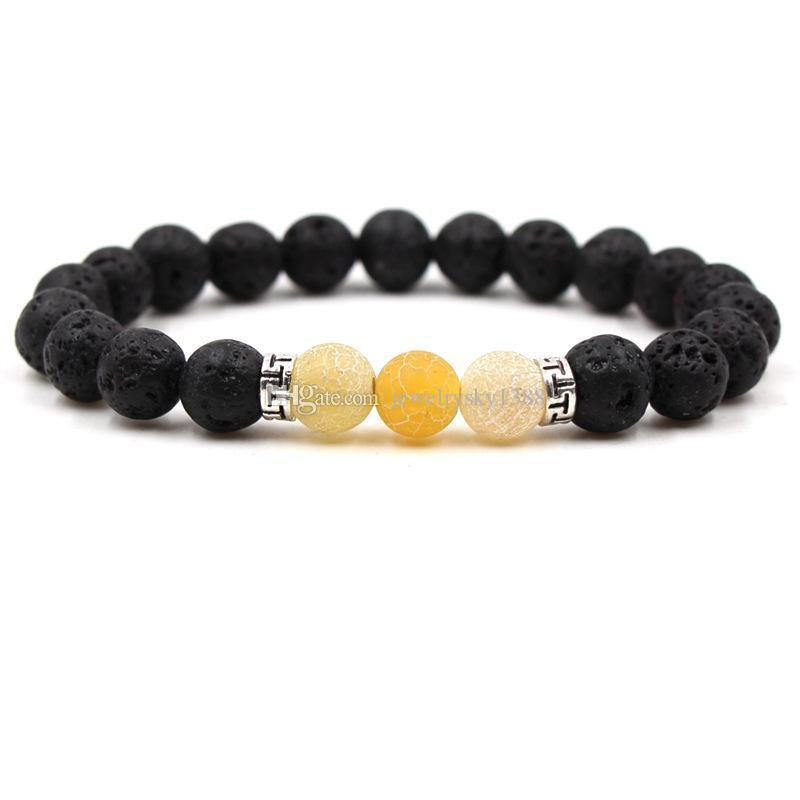 Renkli Yıpranmış Akik 8 MM Siyah Lava Taş Boncuk Bilezik DIY Aromaterapi Uçucu Yağ Difüzör Bilezik Yoga Takı