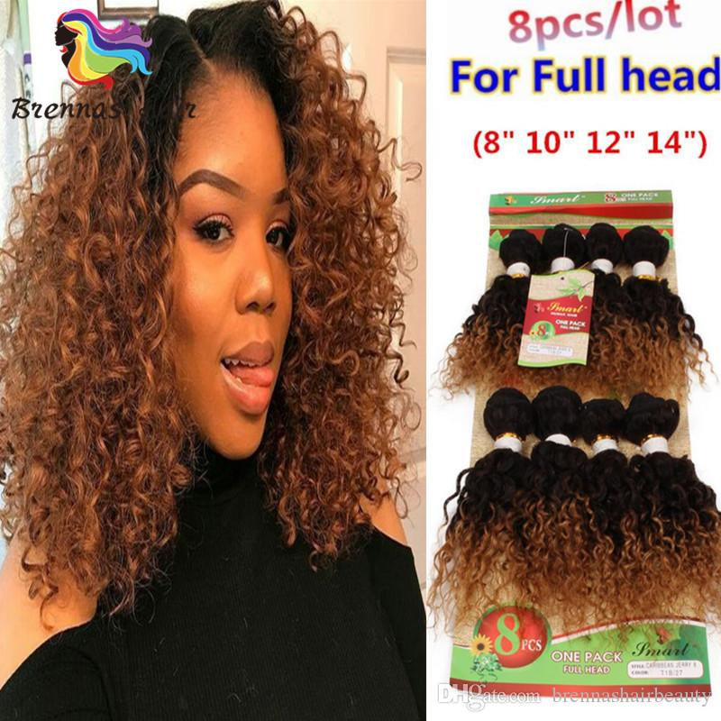 8bundles For One Head Brazilian Ombre Hair Weft Afro Kinky Curly