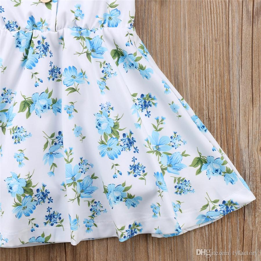Floral Baby Girls Princess Tutu Dresses Blue Flower Buttons Girl Boutique Dress Clothing Toddler Clothes Party Wedding Dresses Kid Clothes