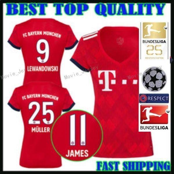 FC Bayern Munich Women LEWANDOWSKI Jersey 2018 2019 Bundesliga Lady ROBBEN  JAMES MULLER HUMMELS Woman Football Shirt Kits Home Red Green UK 2019 From  ... 048a8b46f