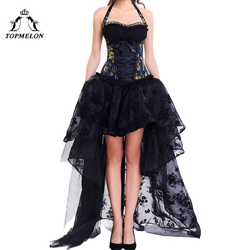 Party Maxi Kleid Gothic Floral Bustier Halter Topmelon Korsett Sexy Rüschen Spitze Ballkleid Damen Steampunk Mieder BshxoQrdtC