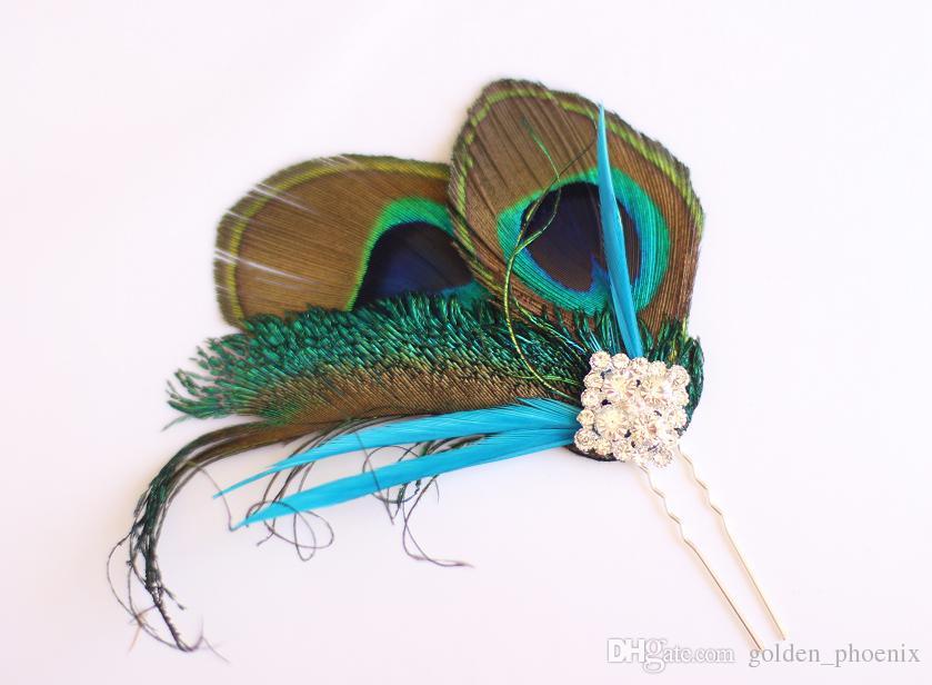Peacock theme wedding jewelry bridal bouquet custom DIY pearl diamond brooch holding flower ball