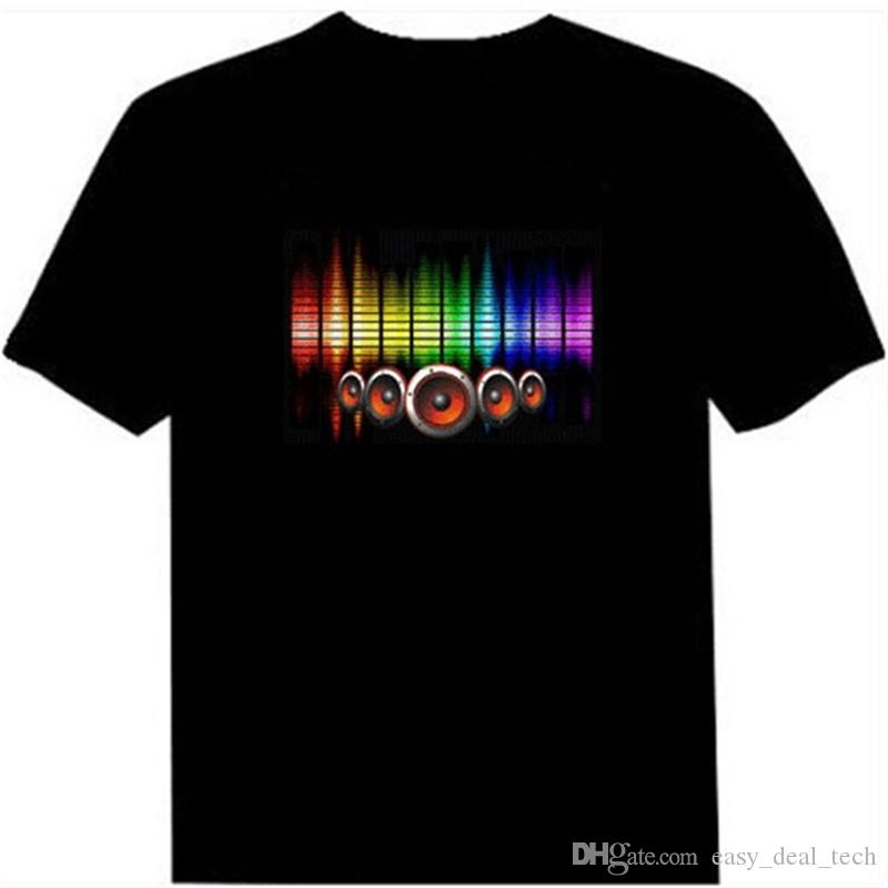 Hot Sale Sound Activated Led Cotton T Shirt Light Up and Down Flashing Equalizer EL T-Shirt Men for Rock Disco Party DJ Top Tee Q0474